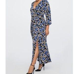 Eloquii Wrap Maxi Dress Stretch 28 Floral Boho